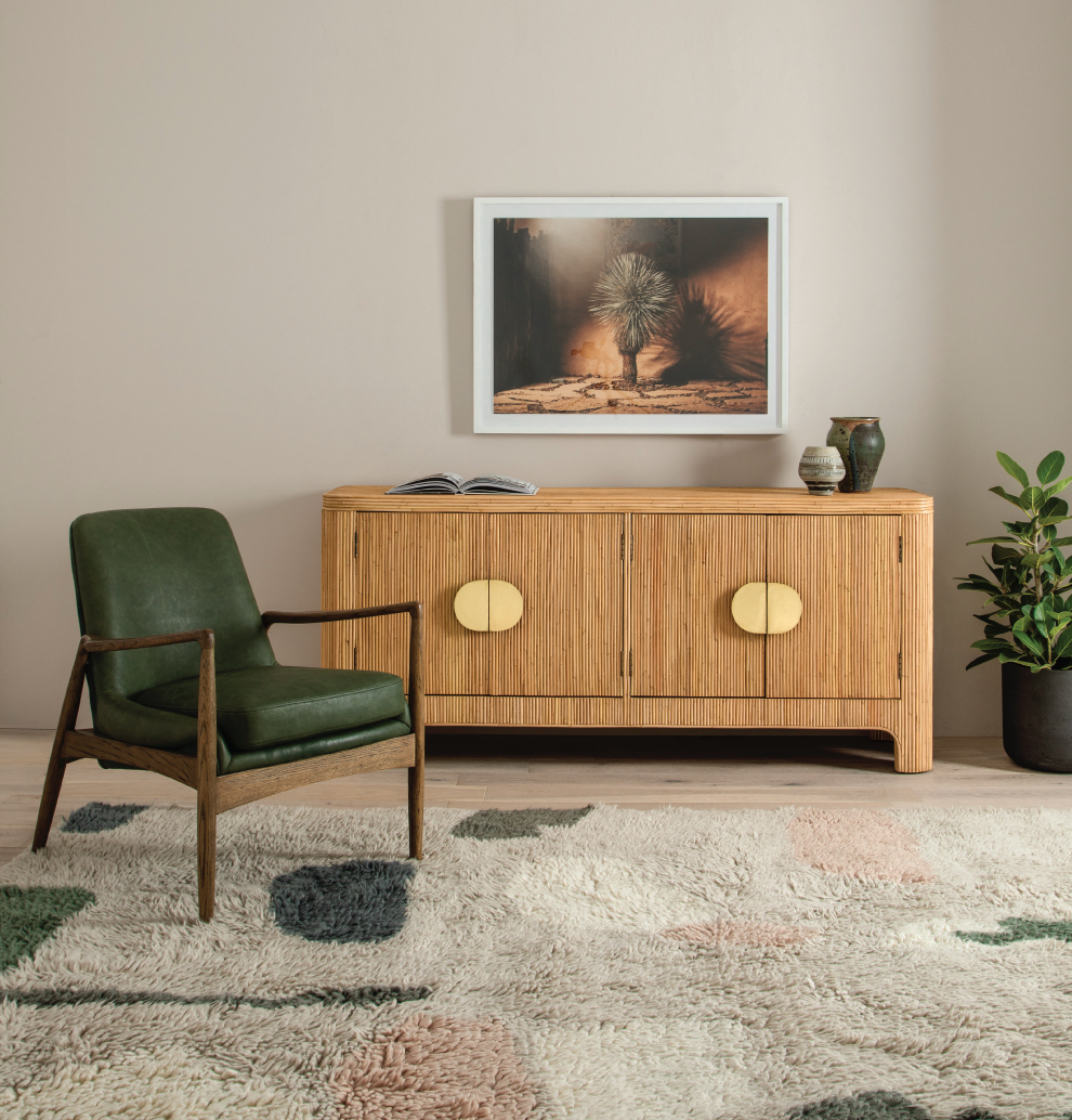 Earthy Textures, Green Leather and Reeding Sideboard