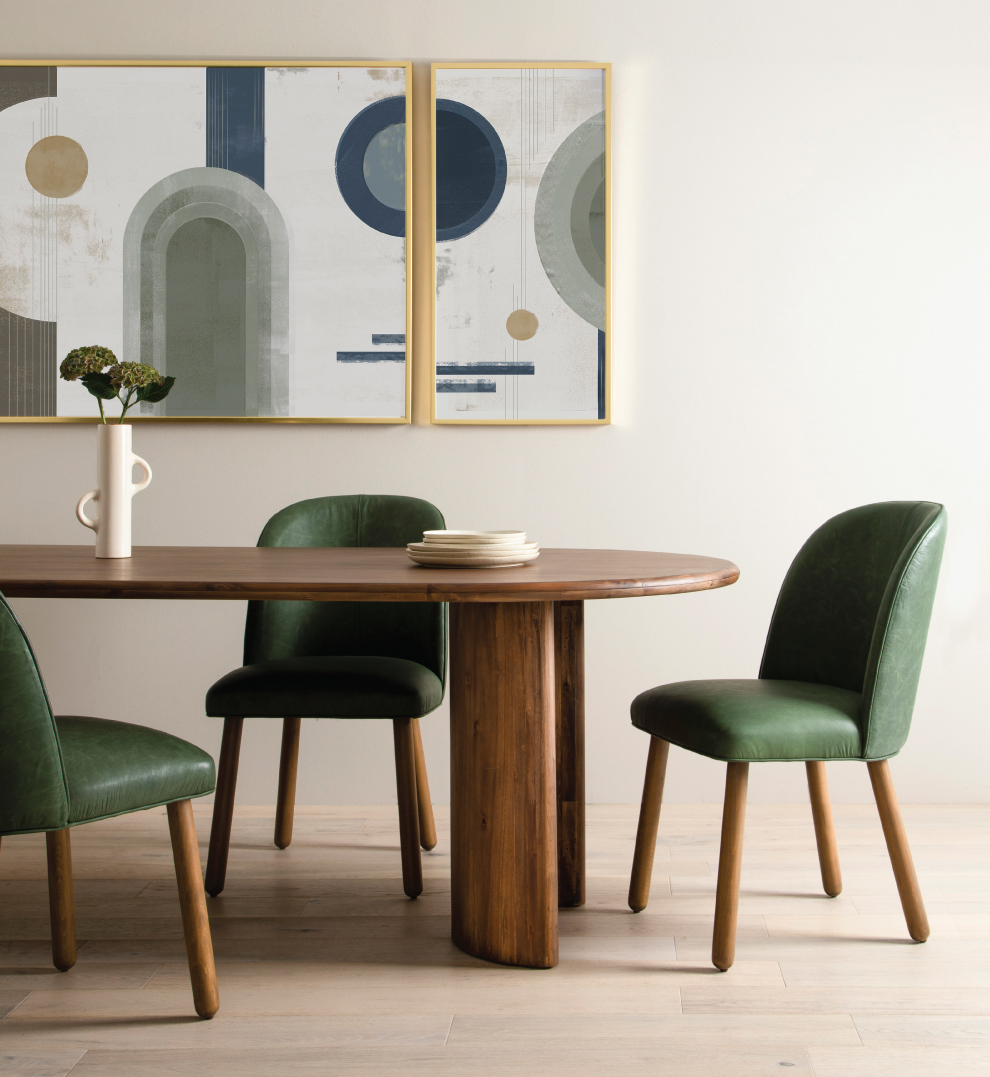 Natural Habitat Dining Room with Curves and Green Leather Dining Chairs