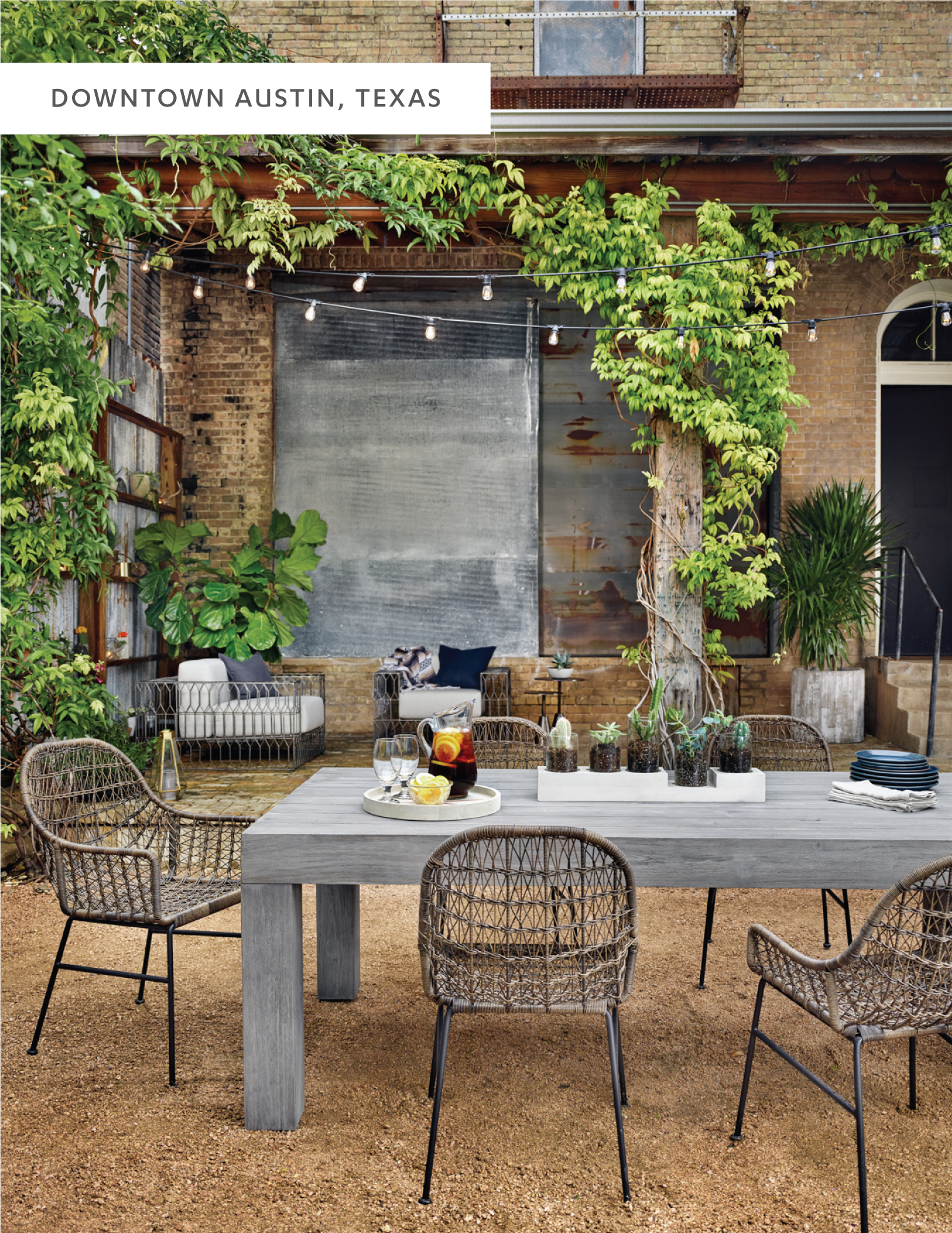 Local Event Space, Palazzo Lavaca, Laid The Perfect Framework For Our New  Outdoor Items. Its Courtyardu0027s Lush Greenery And Gravel Terrain U2013 A Dreamy  Oasis ...