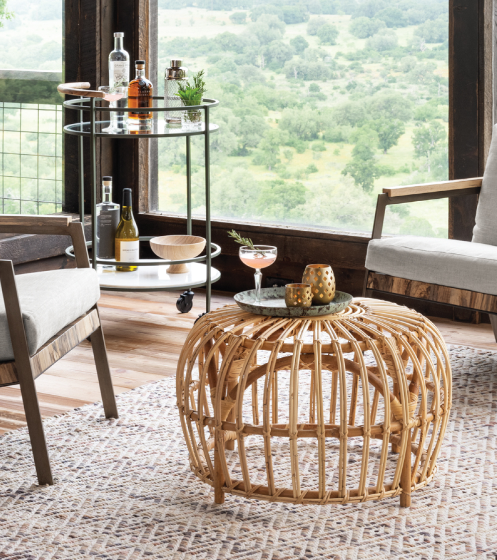 Laguna Rattan Bunching Table with Rosemary Greyhound Cocktail