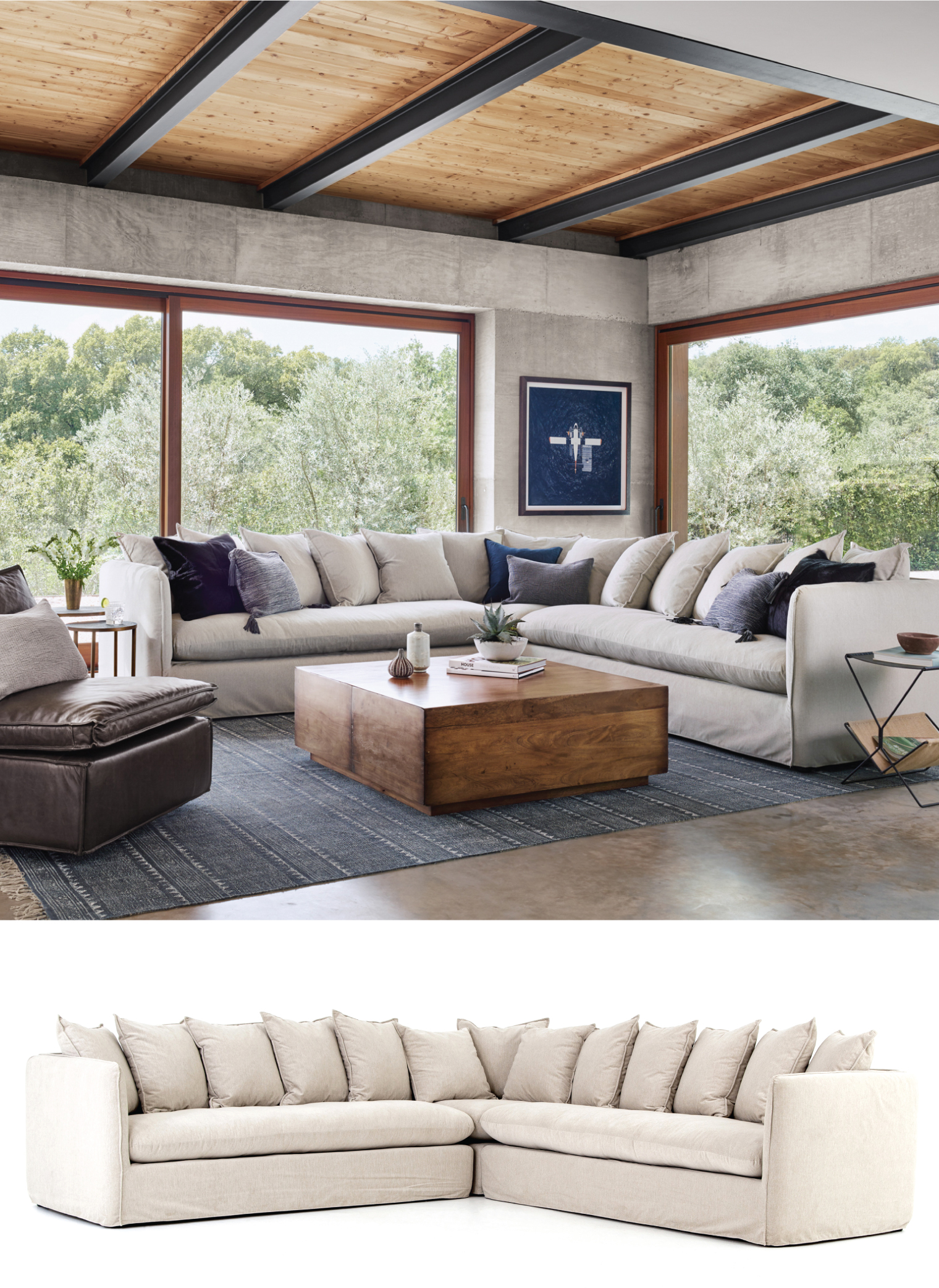 Textured and durable while super soft stain resistant crypton fabric adopts an inviting oatmeal hue to blend effortlessly with a range of styles