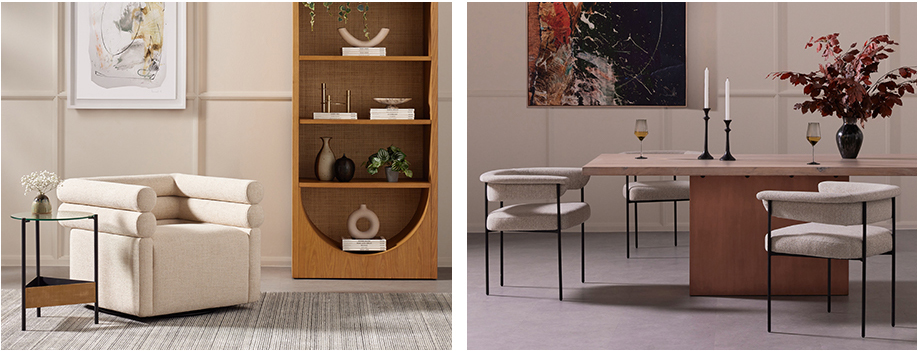 Evie Swivel Chair, Higgs Bookcase, Benicio End Table, Yvonne Dining Table, Class by Dan Hobday, Carrie Dining Chair