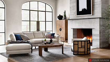 Living Room Angular Sectional with Geometric Cane Chair