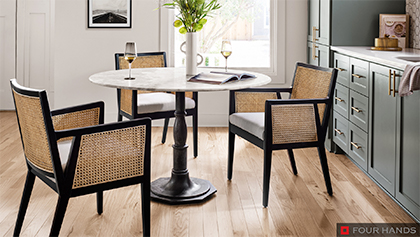 Dining Bistro Table with Marble Top and Iron Base with Cane Dining Armchairs