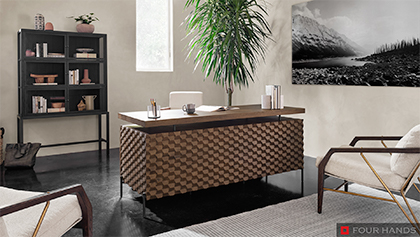 Home Office Texture Carved Wood Desk