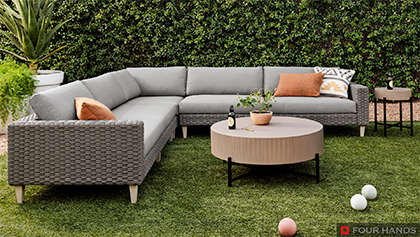Outdoor Woven Sectional with Cushions and Coffee Table