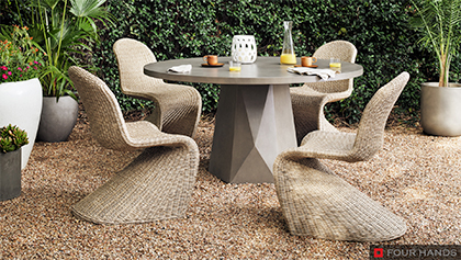 Outdoor Bistro Dining Table with Woven Dining Chairs