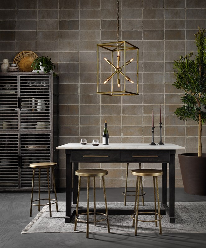 Cayson French Marble Mango Wood Counter Table, Westwood Antique Brass Bar Counter Stool, Jaxon Brass Retro Sputnik Chandelier, Bar Style, Modern Kitchen, Romantic, Four Hands Furniture