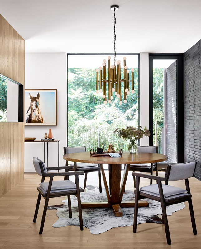 Cobain dining table, reclaimed woods, Aldger high-performance upholstered dining chairs, mid-century modern dining room, four hands furniture, Vivienne brass Chandelier, modern minimalist