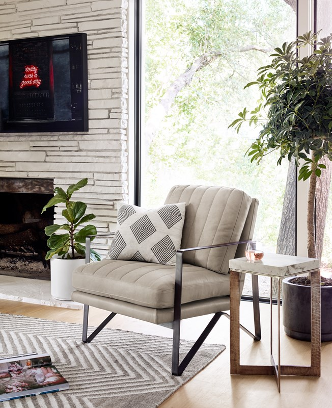 Kenzie top-grain leather channeled chair, marble Lennie end table, four hands furniture, modern living room