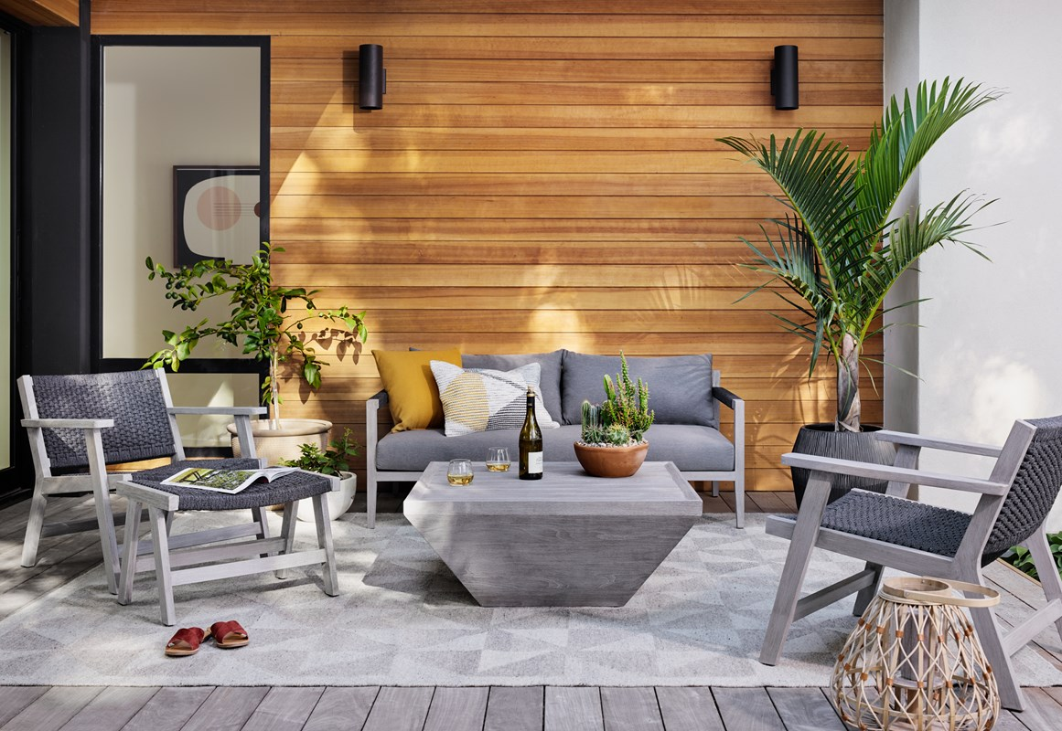 Sherwood outdoor teak sofa, sunproof fabric, Delwin square coffee table, Delano outdoor chair, rope chair, outdoor style, four hands furniture