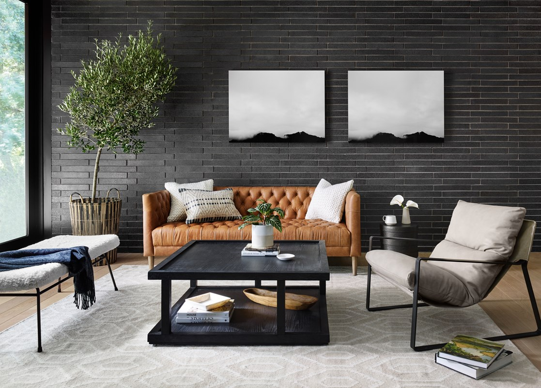 Williams top-grain leather tufted sofa, Charley oak wood coffee table, Emmett leather sling seating, mid-century modern living room, four hands furniture