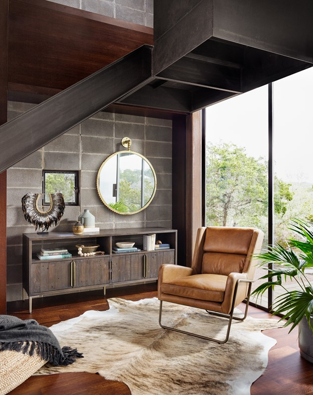 Wyeth Reclaimed Wood Media Console, Wembley Patina Copper Top-Grain Leather Chair,  Cru Gold Mirror, Modern Living Room Style, Four Hands Furniture