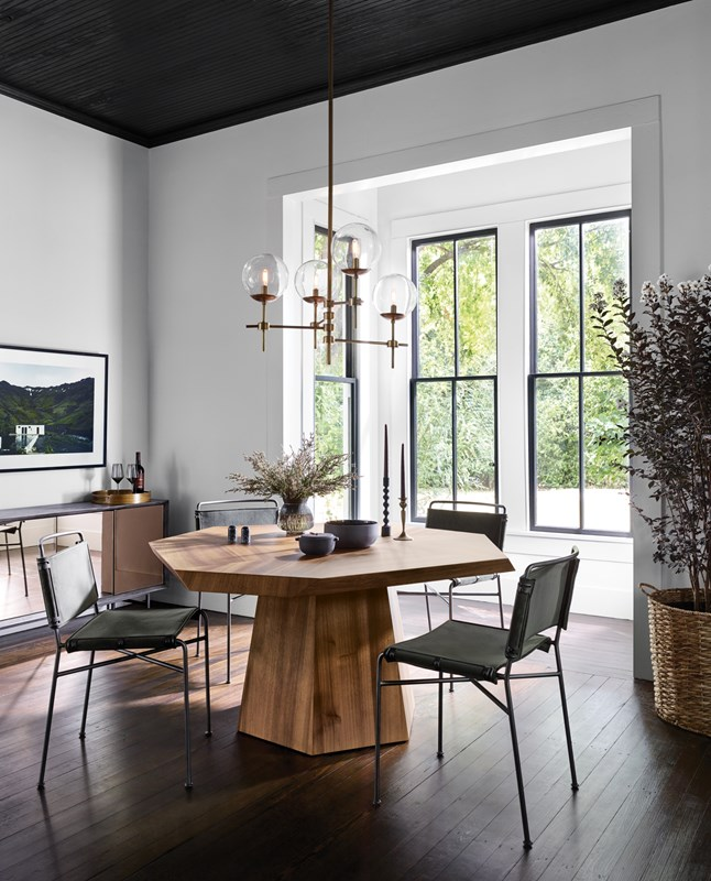Brooklyn Blonde Yukas Octagonal Asymmetric Dining Table, Wharton Grey Leather Dining Chairs, Shayli Bulb Chandelier, Statement Dining Table, Modern Dining Room, Four Hands Furniture