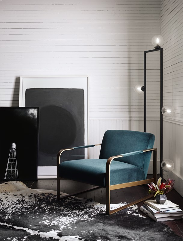 Jules Velvet Upholstered Emerald Chair, Clara Old Hollywood Bubble Floor Lamp, Leaning Art, Marfa Art, Four Hands Furniture