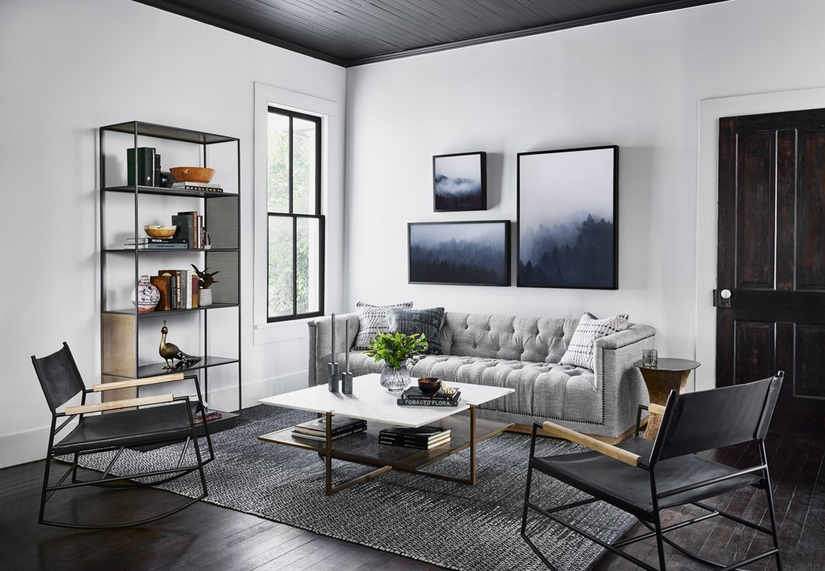 Maxx Sofa, Black Jack Top-Grain Leather Rocking Chair, Zadie Perforated Brass Bookshelf, White Marble Olivia Coffee Table, Gallery Wall, Modern Minimalist Living Room, Four Hands Furniture