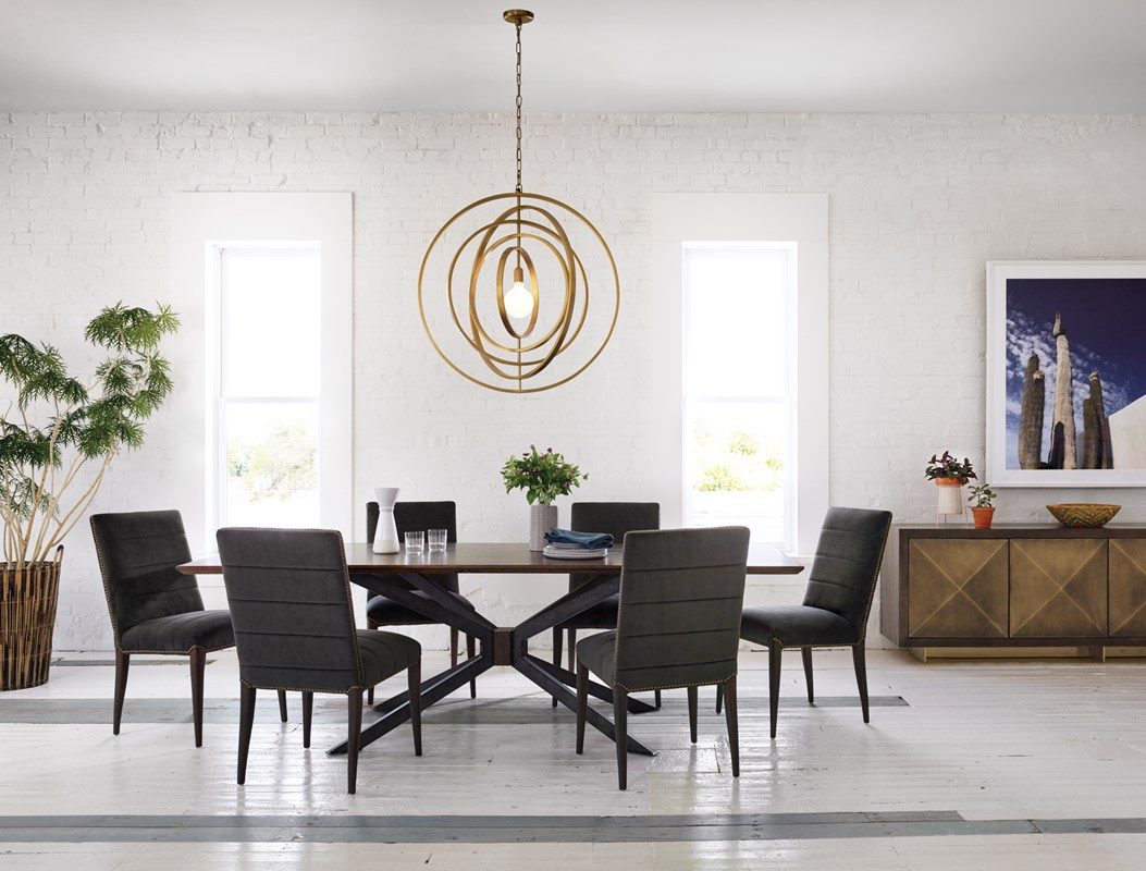 Atomic Spider Oak Dining Table, Nate Brown Velvet Dining Chair, Chandra Brass Orb Chandelier, Mid-Century Modern Dining Area, Mid-Century Lighting, Four Hands Furniture