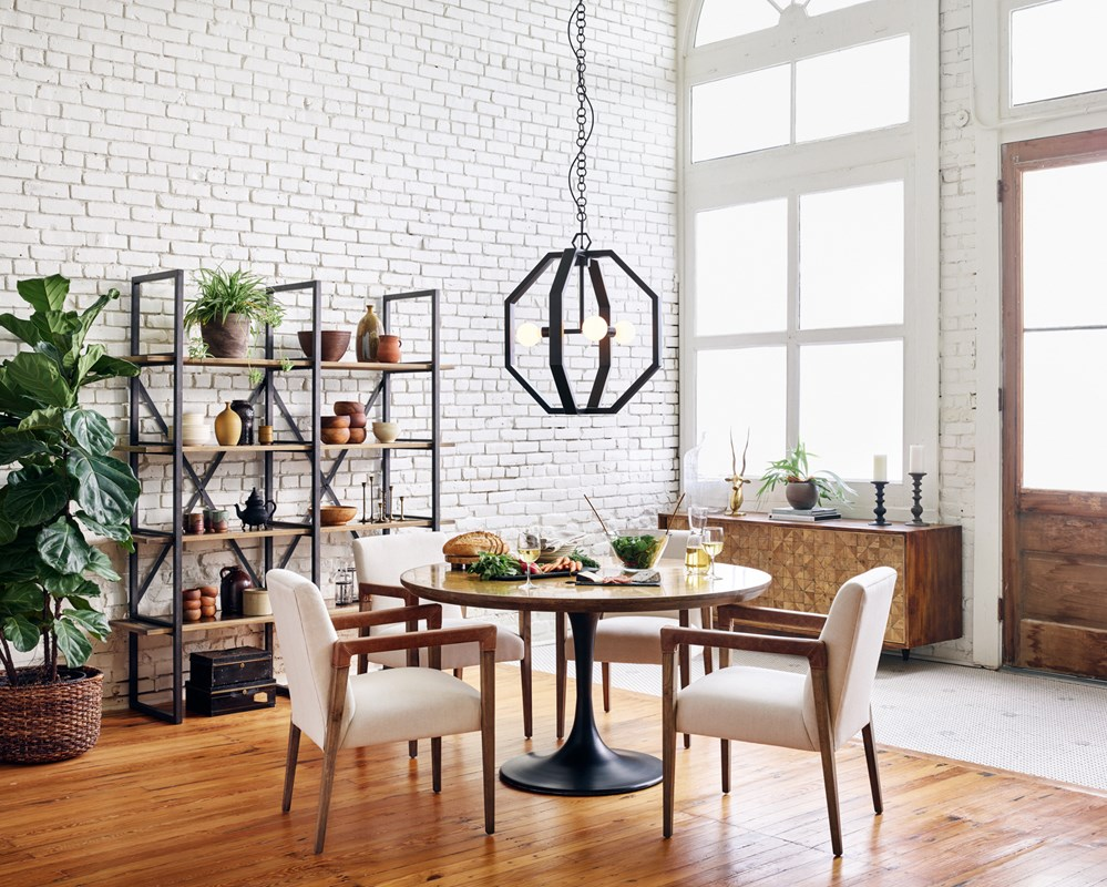 From Left to Right: Shane Double Bookshelf, Reuben Dining Chair, Powell Dining Table, Cooper Chandelier.
