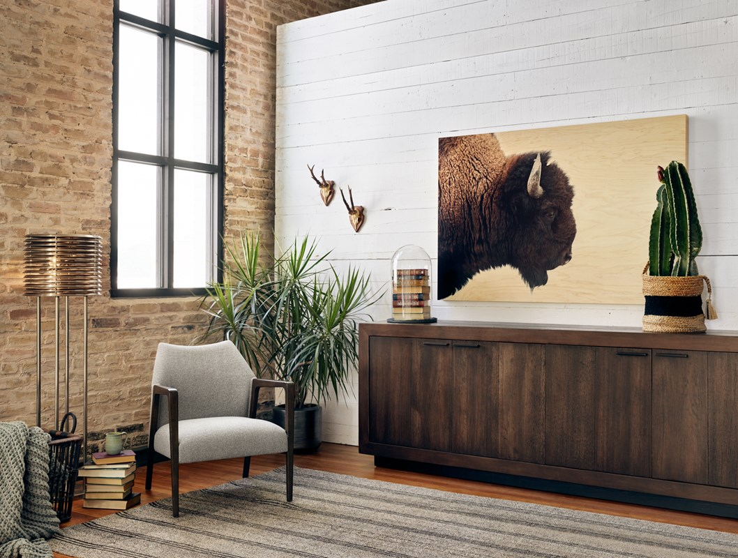 From Left to Right:  Maxwell Floor Lamp, Dalton Accent Chair, Couric 4 Door Sideboard, American Bison.