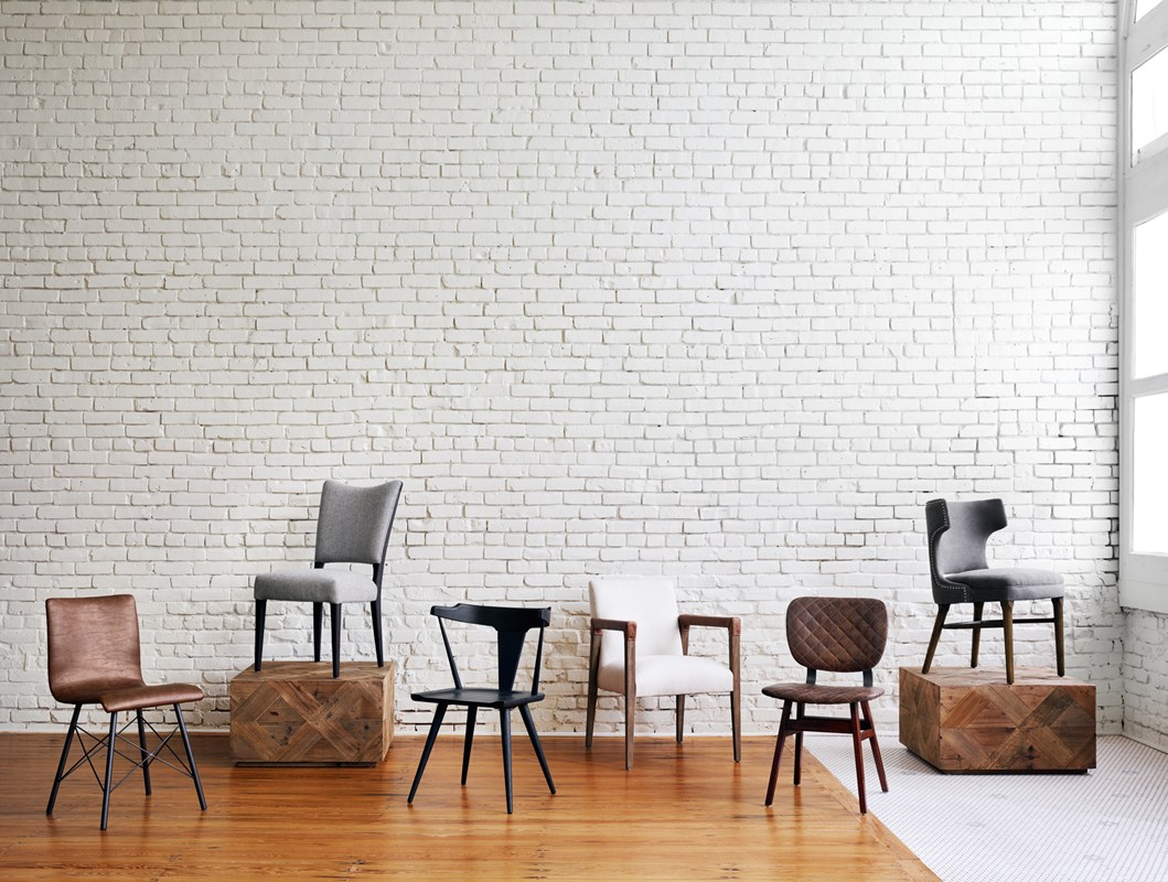 From Left to Right: Diaw Dining Chair, Harwood Bunching Table, Lennox Dining Chair, Ripley Dining Chair, Reuben Dining Chair, Sloan Dining Chair, Task Chair.