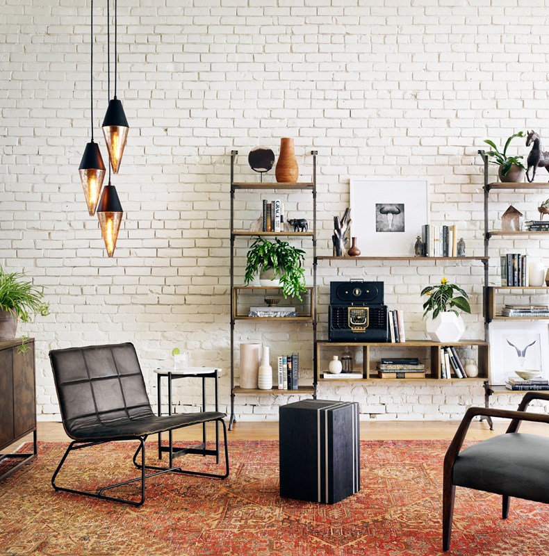From Left to Right: Cora Pendant, Stark Lounge Chair, Adair Side Table, Ellwood Media Wall, Cow Skull III, Kessler Stool.