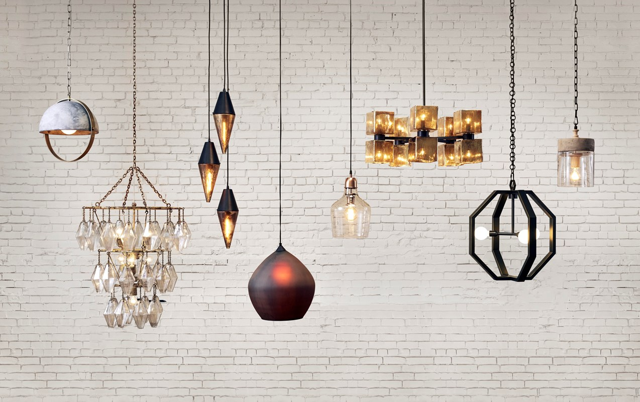 From Left to Right: Garrick Pendant, Adeline Small Round Chandelier, Cora Pendant, Bell Glass Pendant, Ava Large Chandelier, Cooper Chandelier, Concrete Mason Pendant.