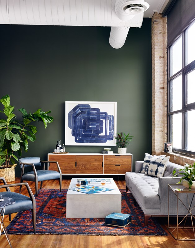 From Left to Right: Tyler Arm Chair, Tucker Large Media Console, Parish Coffee Table, Dylan Sofa, Lucas End Table.