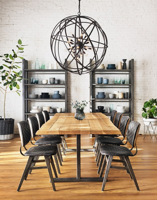 From Left to Right: Rainey Bookcase, Sloan Dining Chair, Booker Dining Table, Tennyson Large Chandelier, Luna Planter.