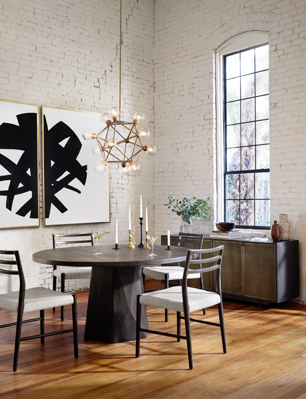 From Left to Right: Infinity by Jess Engle, Glenmore Dining Chair, Kemper Round Dining Table, Claridge Chandelier, Hendrick Sideboard.