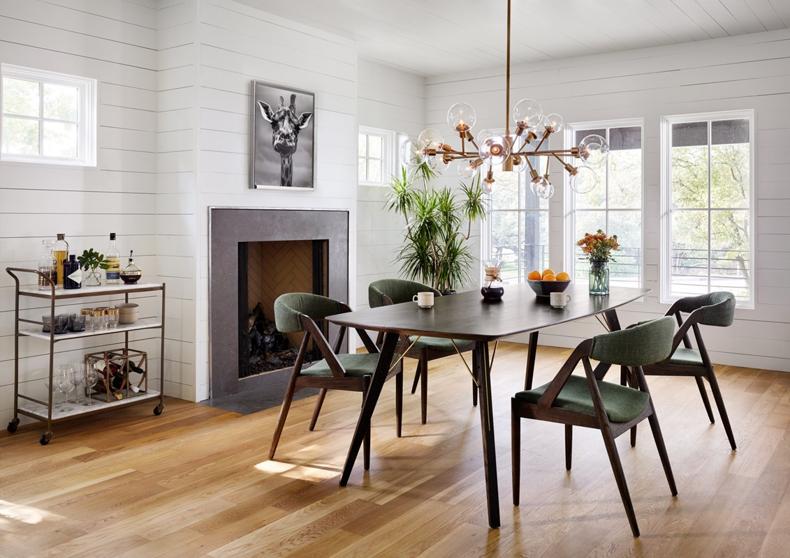 From Left to Right: Felix Rectangular Bar Cart, Giraffe, Holton Dining Chair, Thoreau Dining Table, Pellman Chandelier.