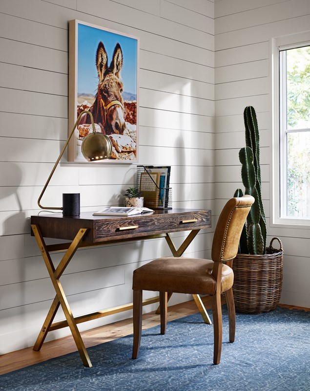 From Top to Bottom: Spanish Burro, Alton Desk Lamp, Dante Desk, Mimi Chair.