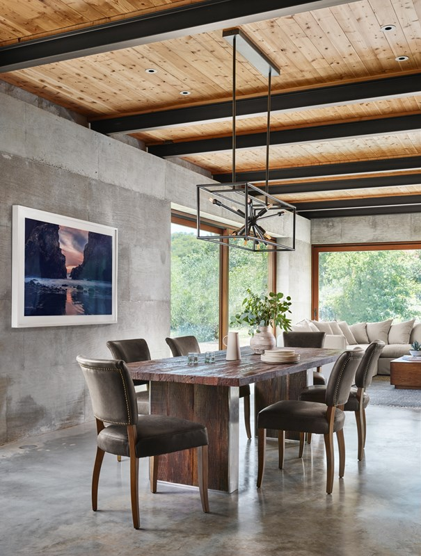 Keith Rectangular Peroba Dining Table, Mimi Charcoal Leather Dining Chair, Jaxon Brass Sputnik Rectangular Chandelier, Pfeiffer Beach Art, Modern Dining Room, Mid-Century Modern Dining Style, Concrete Floor Dining Room, Four Hands Furniture