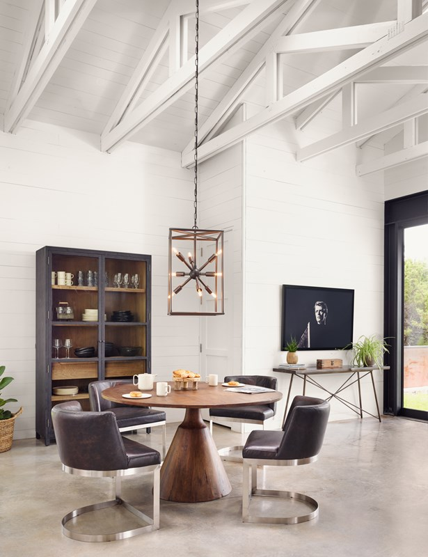 Bronx Brown Reclaimed Wood Pedestal Dining Table, Wexler Black Faux Leather Cantilever Dining Chair, Jaxon Brass Sputnik Chandelier, David Bowie Art, Modern Minimalist Dining Room, Four Hands Furniture