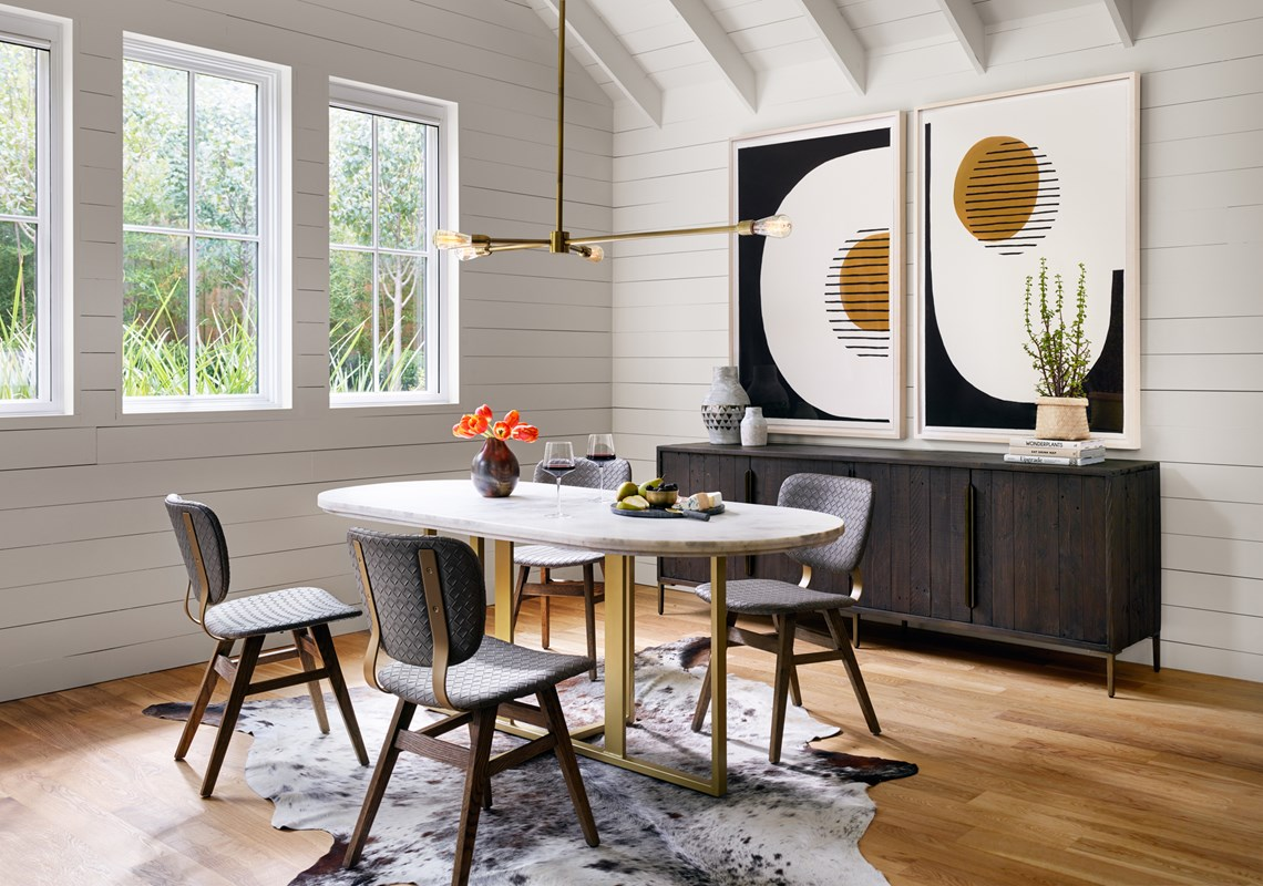 From Left to Right: Sloan Dining Chair, Devan Oval Dining Table, Robinson Chandelier, Wyeth Sideboard, Shadow, Valley.