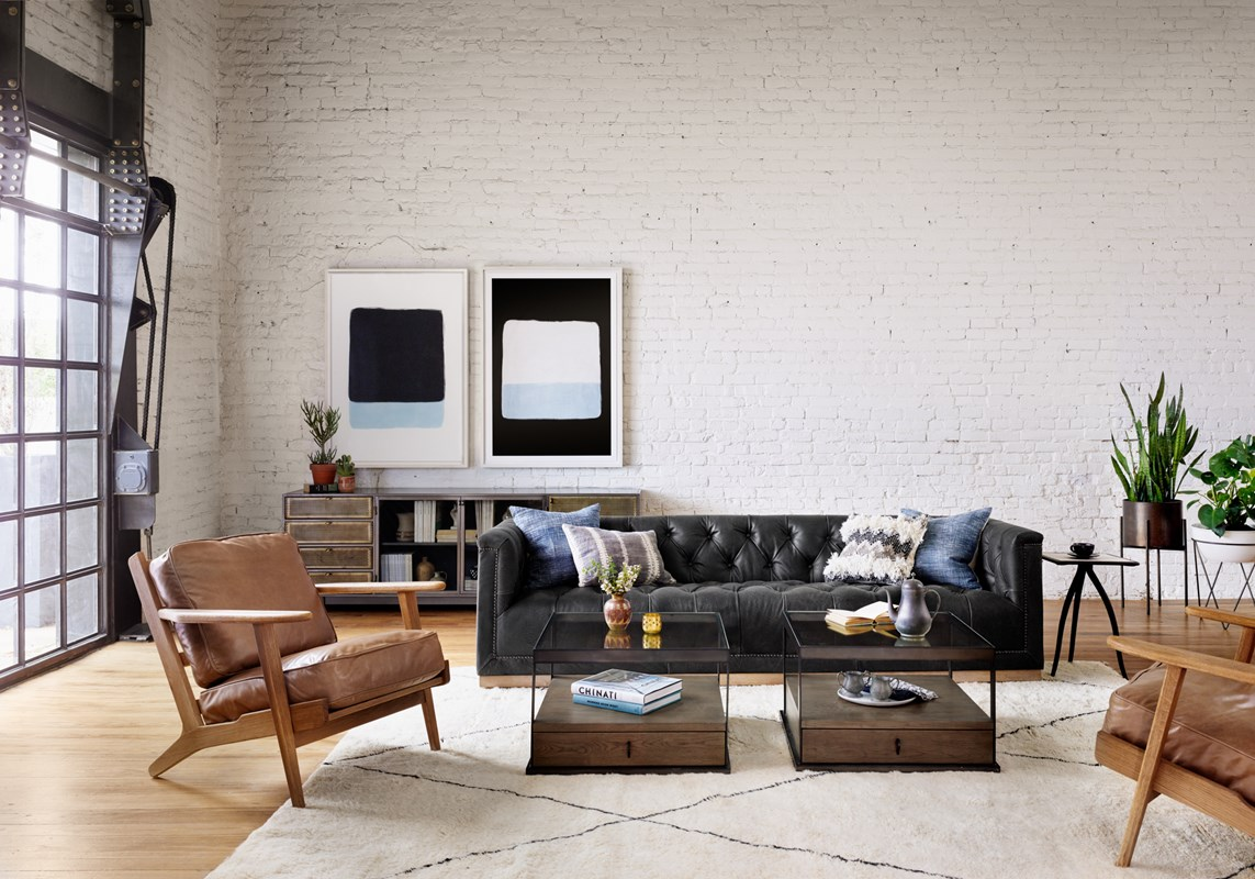From Left to Right: Brooks Lounge Chair, Hendrick Media Console, Lake, Beach, Maxx Sofa, Carlson Bunching Table, Faded Blue Haze Pillow, Multi Fringe Pillow, Slash Square Side Table, Jed Planter, Luna Planter.