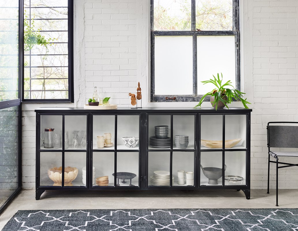 Camila Black Iron Windowpane Sideboard, Wharton Grey Canvas Dining Chair, New Traditional, Dining Room Sideboard, Four Hands Furniture