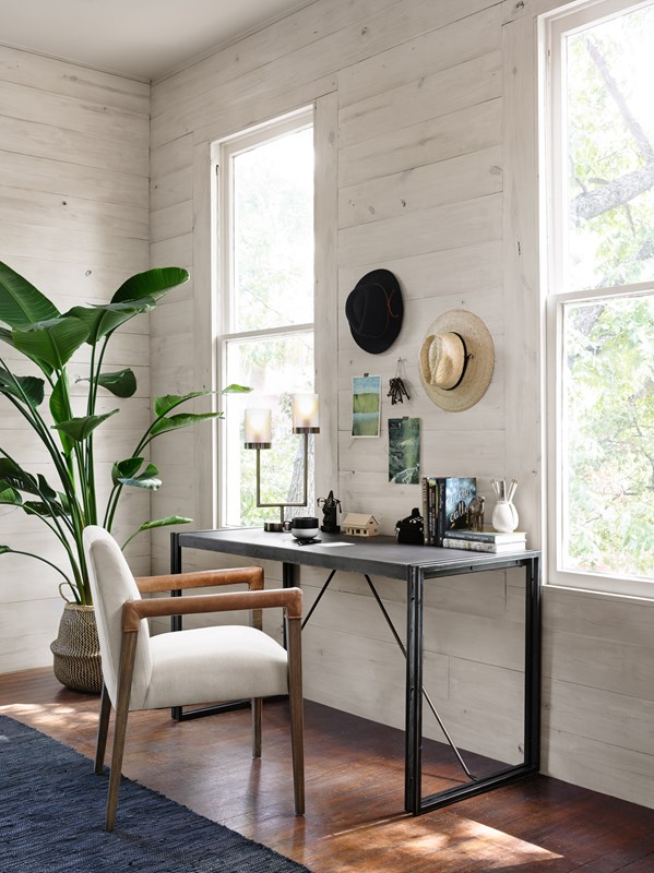 Omega Concrete Iron Parsons Desk, Office Style, Minimalist Office, Modern Minimalist, Reuben White Linen Upholstered Dining Arm Chair, Blaire Double Pewter Desk Lamp, Mid-Century Desk Lamp, Office Style, Office Nook, Four Hands Furniture