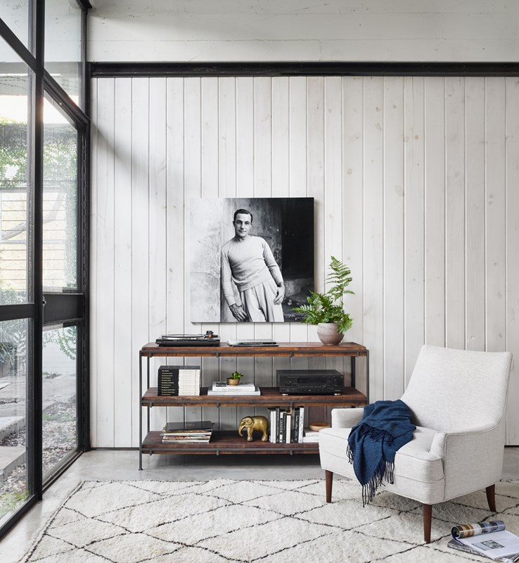 Simien Mango Wood Open Media Console, Danya Off White Upholstered Wing Chair, Gene Kelly Black and White Art, Modern Minimalist Living Room, Modern Media Room, Four Hands Furniture