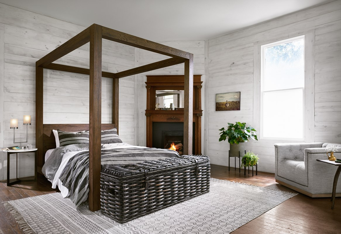 Willard Oak Canopy Bed, Ciego Black Rattan Trunk, End of Bed Trunk, Maxx Grey Nailhead Swivel Library Chair, Modern Bedroom, Master Bedroom, Four Hands Furniture